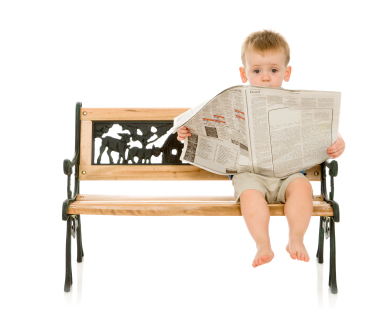 Baby Boy Reading the Newspaper