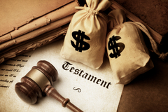 gavel testament document and bags with dollar sign