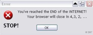 You reach the end of the Internet error